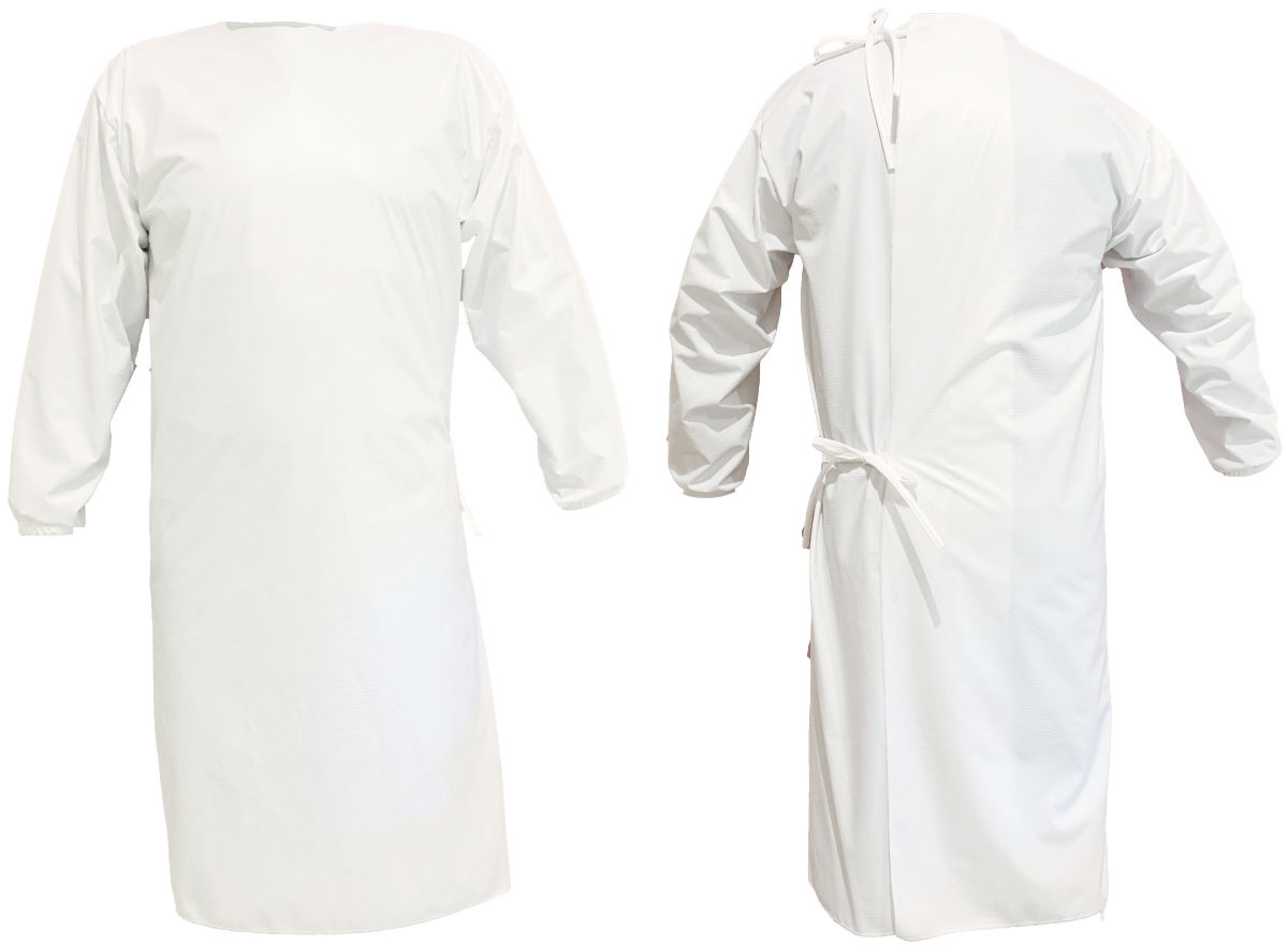 A photo of our reusable surgical gowns, front and back view
